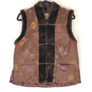 April Cornell Vintage brown vest faux fur 9430